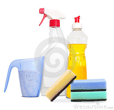 Set of unlabeleled cleaning products