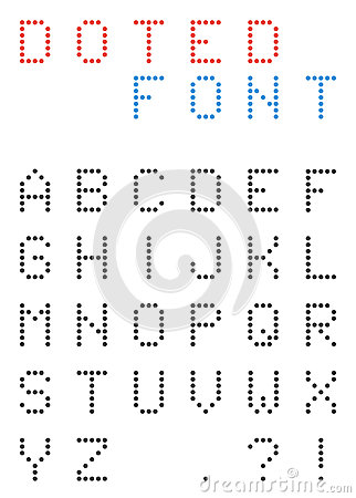 dotted font alphabet digital letters and numbers stock vector image 73824156