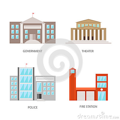 Set of urban buildings in a flat style. Government building, theater, police and fire station. Vector, illustration Vector Illustration