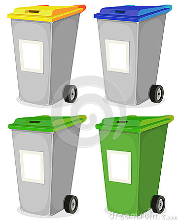 Set Of Urban Recyclable Trash Bin
