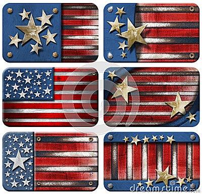 Set of USA Grunge Flags