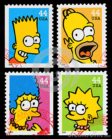 Simpsons TV Show Postage Stamps Editorial Image