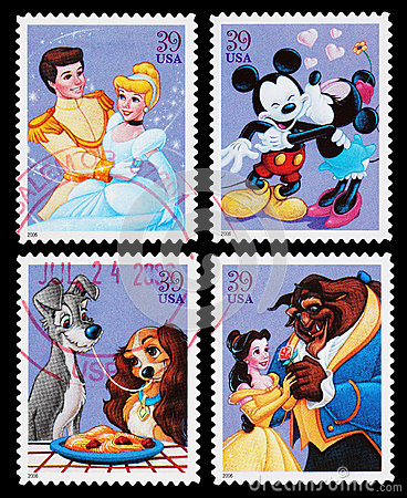 Disney Character Postage Stamps Editorial Photography