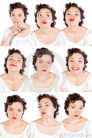 Set of useful woman faces