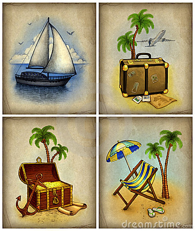 Set of vacation illustrations