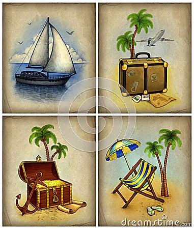 Set of vacation illustrations