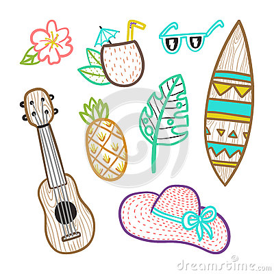 Set of vacation objects. Vector Illustration