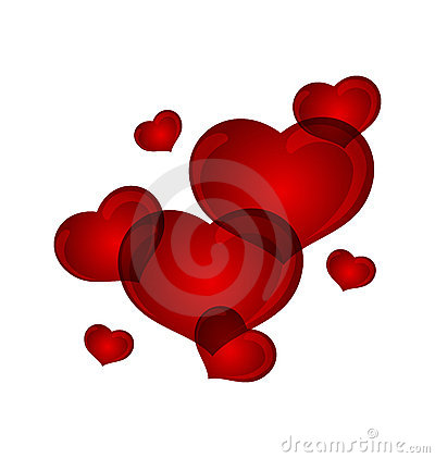 Set valentine hearts isolated