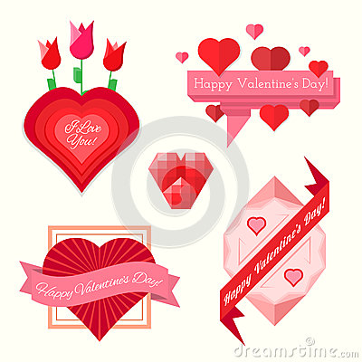 Set of valentines day banners