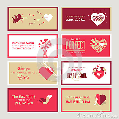 Set Of Valentines Day Greeting Card Templates Royalty Free ...