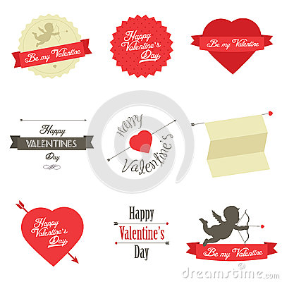 Set of Valentines Day labels and badges