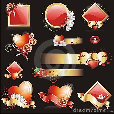 Set With Valentines Design Stock Images - Image: 12764524