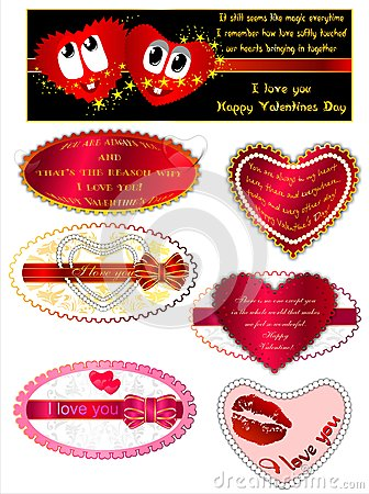 Set Valentines greetings. (Vector)