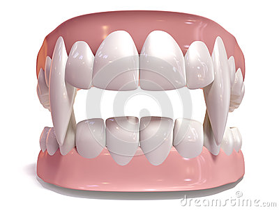 Vampire False Teeth Set Isolated