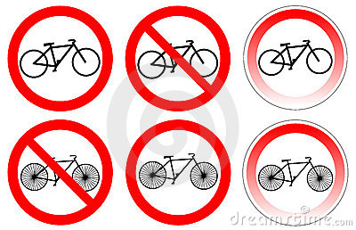 Set of variants a bicycle stop sign