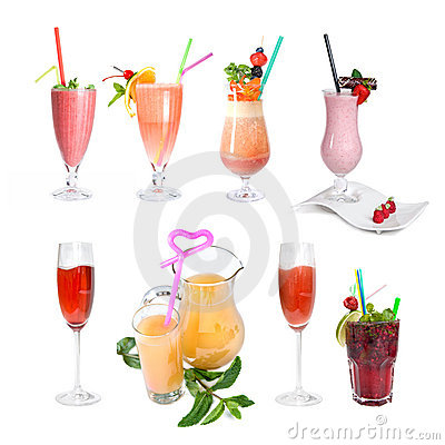 Set of various cold cocktails