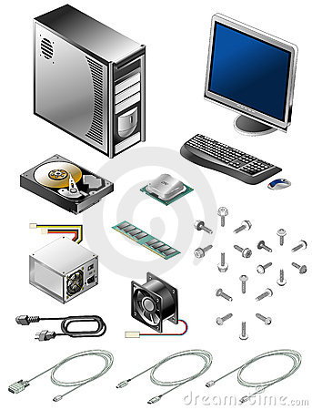 Set of various computer parts and accessories