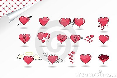 Set of various hearts
