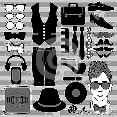 Set of various hipster accessories