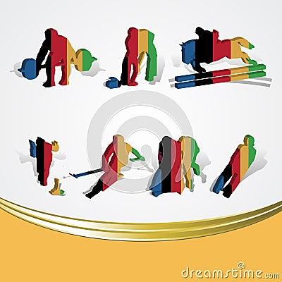 Set of various icon sport or symbol sports colorfu