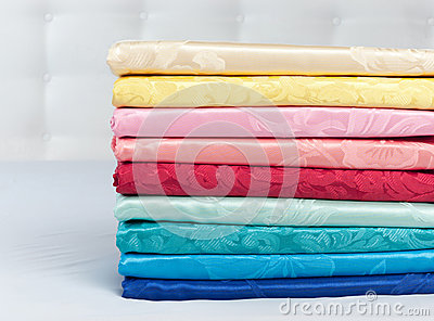 Set of various multicolored silk