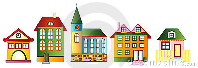 Set of various town houses, vector