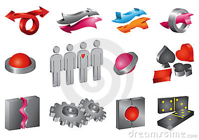 Set of vector 3-D icons