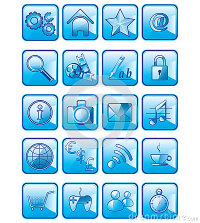 Set of vector application icons isolated on white