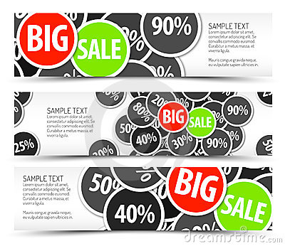 Set of vector big sale horizontal banners