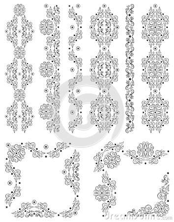 Set of vector borders, decorative floral elements