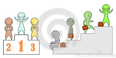 A set of vector characters depicting success