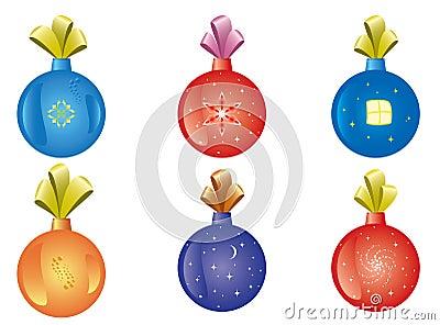 Set of vector christmas-tree decoration