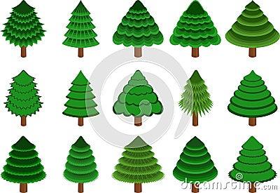 Set of vector conifers