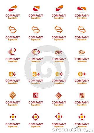 Set of vector corporate arrow logo symbols