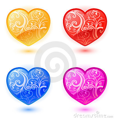 Set of vector floral hearts