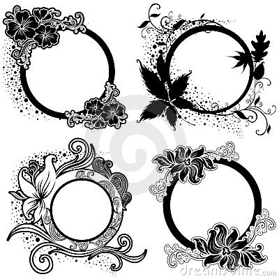 Set of Vector Floral vintage black frames