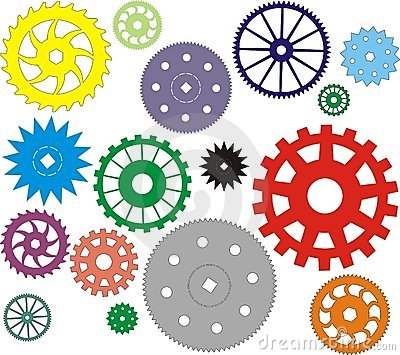 Set of vector gears different in the form