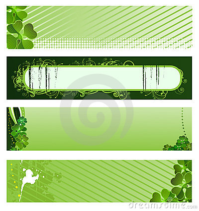 Set of vector green banners
