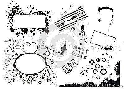 Set of vector grunge elements