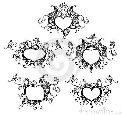 Set of vector heart frame