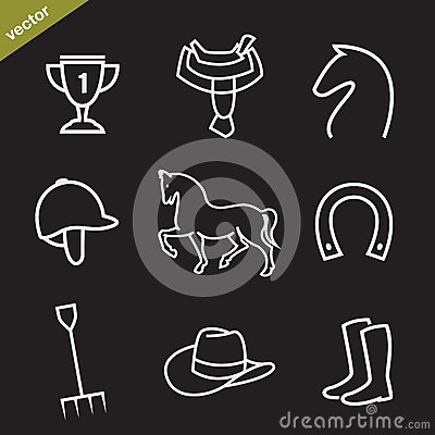 Set of vector horse equipment icons Vector Illustration