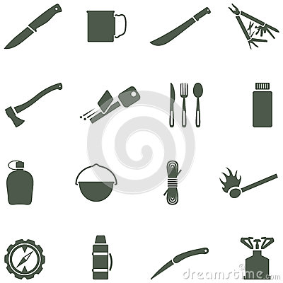 Set of vector icons with camping equipment and acc