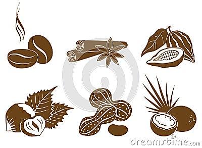 Set of vector icons dessert ingredients