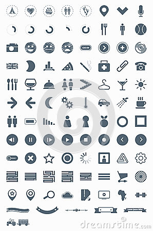 Set vector icons, signs, symbols and pictograms.