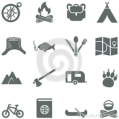 Set of vector icons for tourism, travel and campin