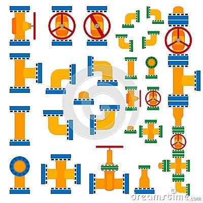 Set of vector illustration pipeline elements.