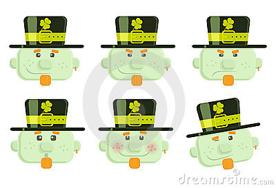 Set of vector leprechauns