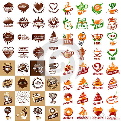 Set of vector logos hot drinks and desserts Vector Illustration