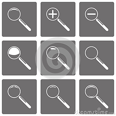 Set of vector magnifying glasses and zoom icons