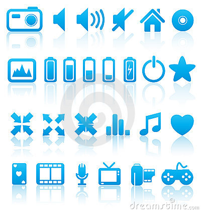 Set of vector media icons.
